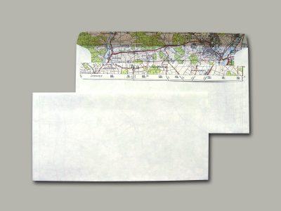 10 Briefumschläge mit Landkarte DIN lang
