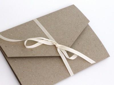 5 Pocketfold Klappkarten aus Kraftpapier braun
