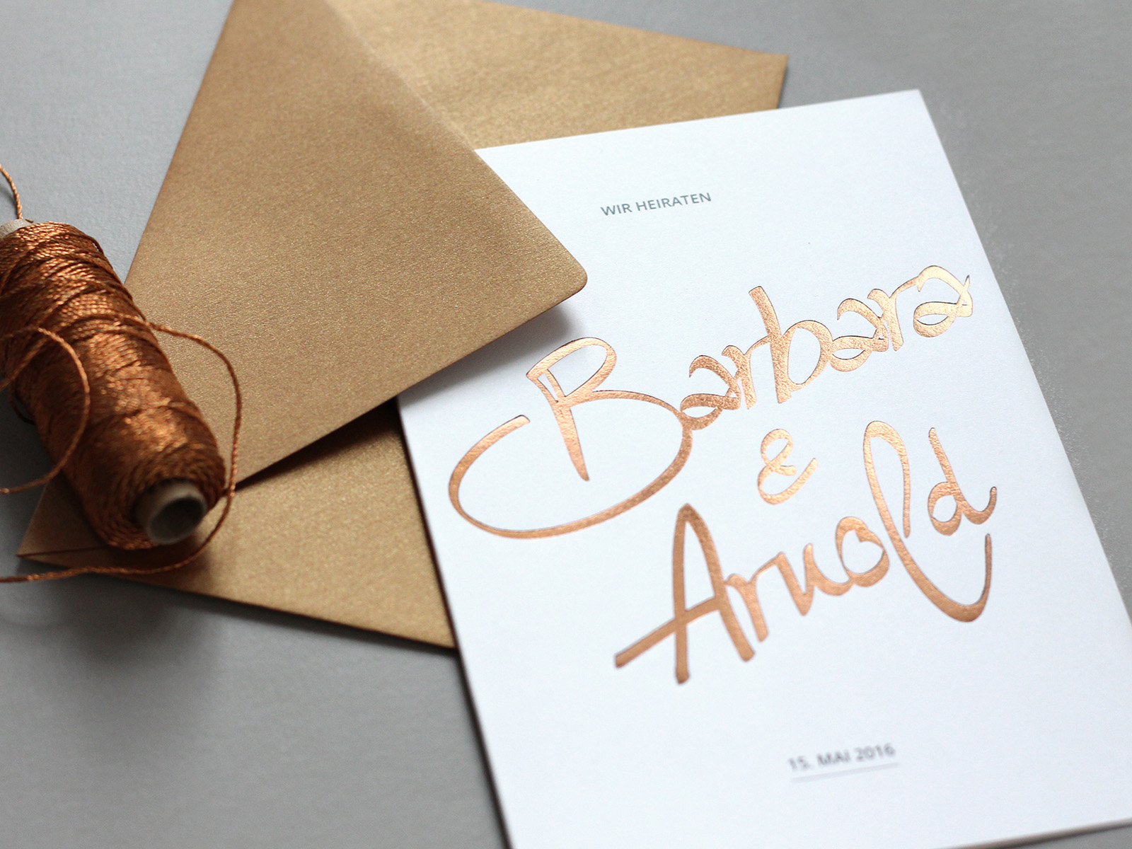 Hochzeitseinladung INK mit Kupfer-Prägung