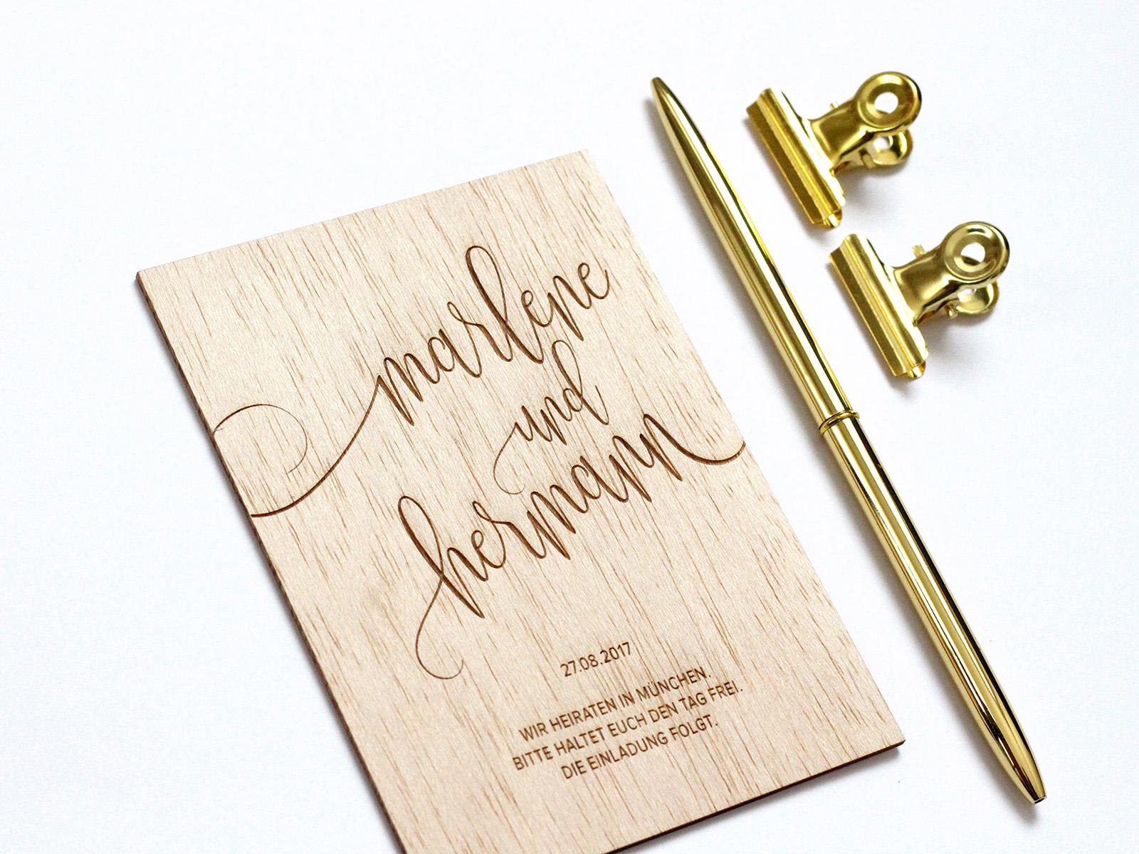 Hochzeitseinladung aus echtem Holz