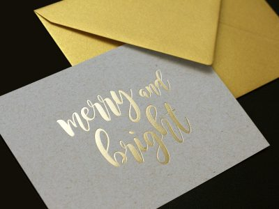 MERRY AND BRIGHT | Karte mit Goldprägung