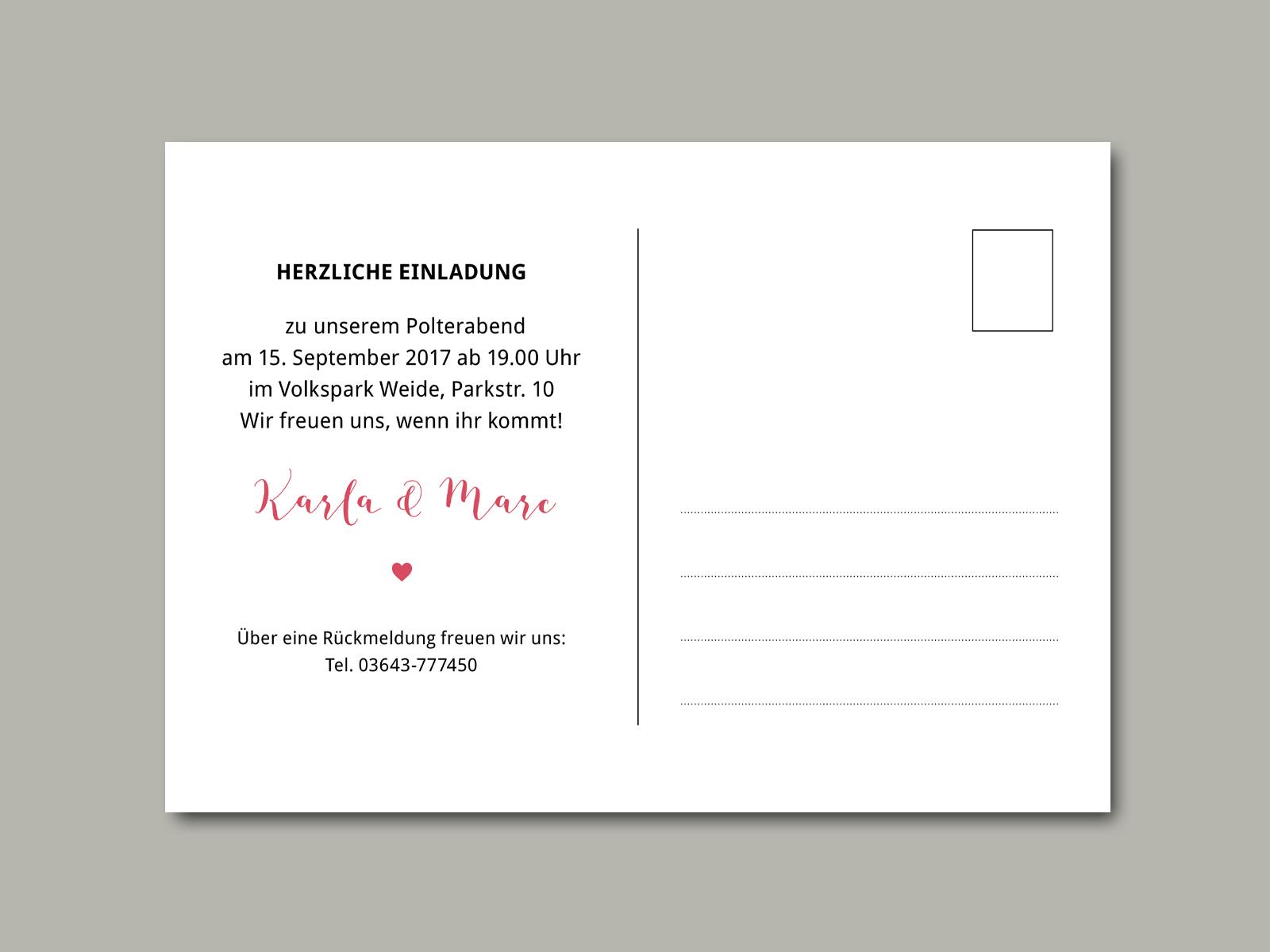 einladung zum polterabend | 4 | inliebe papeterie, Einladung
