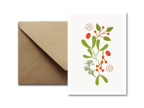 Weihnachtskarte MISTLETOE